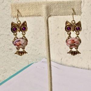 Jewelry - Adorable owl earrings with purple eyes
